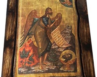 Saint St. John - The Baptist - Orthodox Byzantine icon on wood handmade (22.5 cm x 17 cm)