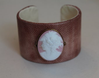 Vintage cameo with handmade leather cuff bracelet with vintage cameo accent