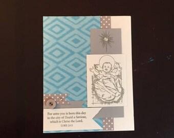 Christmas card; homemade Christmas card; Christmas card; homemade; baby Jesus Christmas card; homemade baby Jesus Christmas card; Jesus