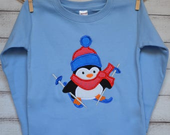 Penguin with Skis Applique Shirt or Onesie Boy or Girl Choose your color!