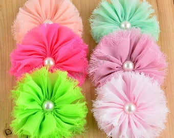Shabby Flower ,Chiffon Pearl Flower , Fabric Flower For Hair Accessories H100039