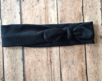 Top Knot Headband || Solid Black on Cotton Jersey Knit Fabric || Knotted Headband