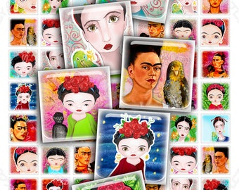 Digital collages FRIDA HANDPAINTING 1x1 inch square clipart romantic for pendant magnet and craft - instant download printable paper - qu417