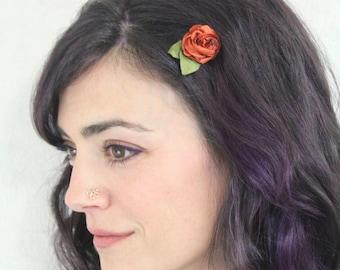 Orange Flower Hair Pin - Bobby Pin Flower Clip - Updo Wedding Hair Accessories