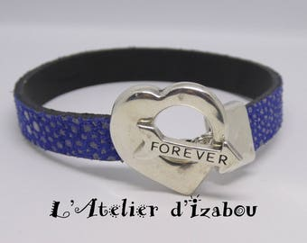 Women leather blue constellation King and heart Valentine bracelet arrow Forever