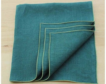 Green Linen Napkins, Green Cloth Napkins, Custom Napkins, Sage Napkin, Edged Napkins, Dinner Napkins, Wedding Napkins, Set of 4, 20""