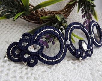 Soutache bracelet Openwork soutache bracelet Soutache jewelry Dark blue silver bracelet soutache Delicate soutache bracelet deep blue