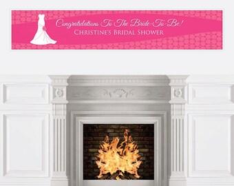 Wedding Dress Pink Personalized Banner - Bridal Shower Banner Decorations - Custom Wedding Banner - Bridal Shower Hanging Decorations