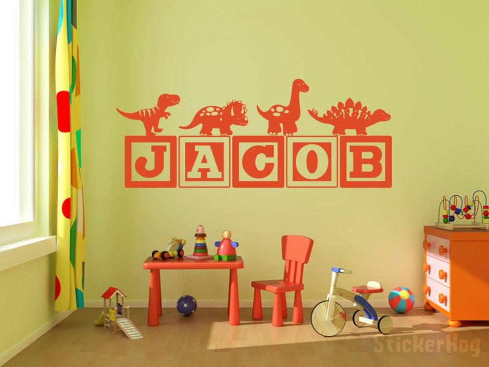 Boys Dinosaur Blocks Name Monogram Wall Decal #6 Nursery Room Kids Vinyl Wall Graphics Bedroom Decor