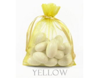 30 Yellow Organza Bags, 6 x 9 Inch Sheer Fabric Favor and Gift Bags