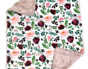 Plum and Pink Watercolour Floral Minky Baby Girl Blanket, Ready to Ship