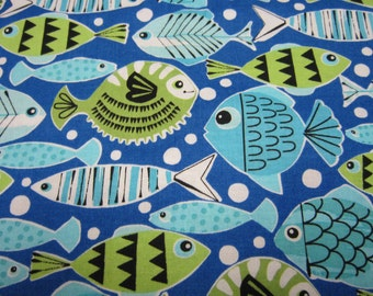 Blue Turquoise Fish Cotton Fabric Called Schools Out by Michael Miller Fabrics