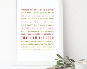 Bible Verse Art - Jeremiah 9:23-24 -King James Verstion - Scripture Art
