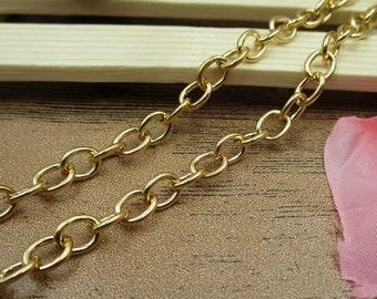 8Ft Length Cross O Chains-6x7mm,Necklace Chain,Bracelet Chain,Gold Tone-CS020