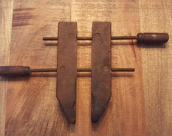 Vintage Wooden Clamp, Wood Vise