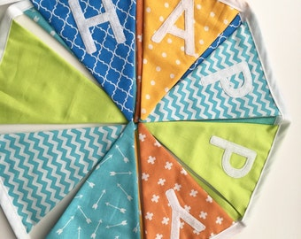 Happy Birthday Banner, Fabric Bunting, Fabric Banner, Birthday Decorations, Eco-Friendly Birthday, Ready to Ship!