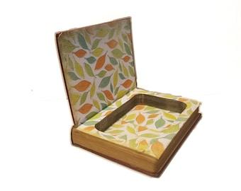 Hollow Book Safe Bright Feather Cloth Bound vintage Secret Compartment Security hiding place