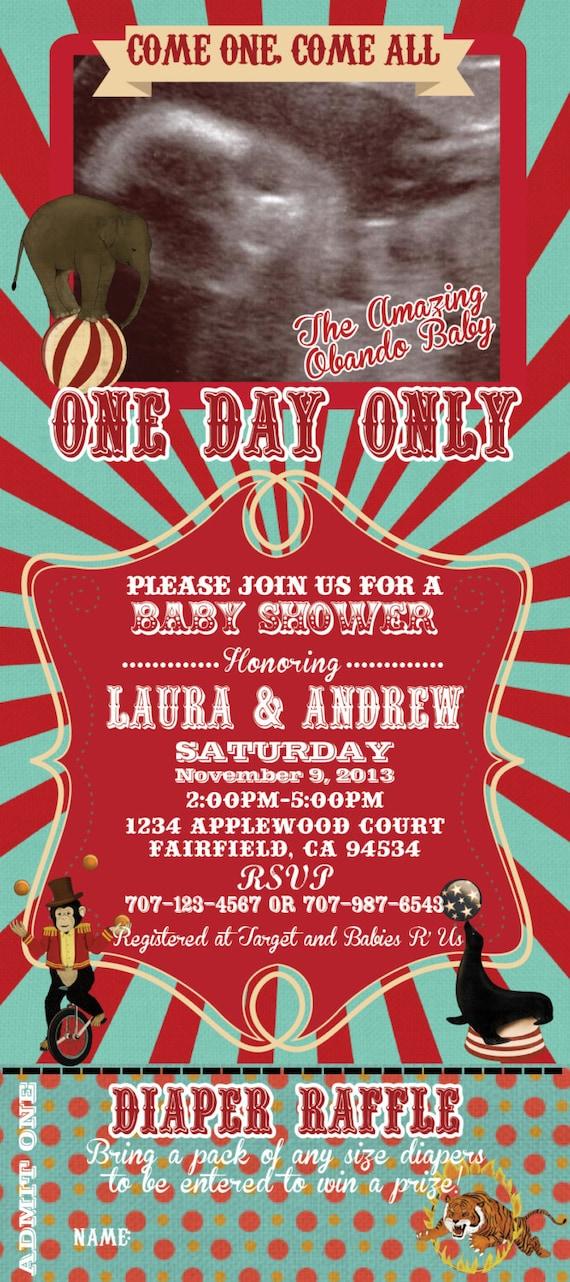 Printable Vintage Circus Theme Baby Shower Ticket 4x9
