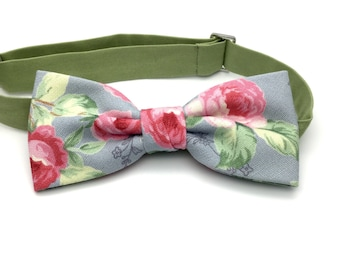 Shabby Chic Floral Clip-On Bow Tie Pink Rose Dusty Blue Adult Men Teen Boy Baby Toddler Kid Children Bow Tie Party Gift Wedding Groomsmen