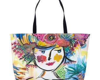 Women's Weekender Bag - Weekender Tote - Weekender Bag - Weekend Travel Bag - Beach Tote Bag - Overnight Bag - Canvas Tote - Rope Handles