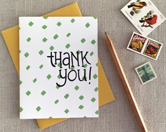 Thank You Note Card / Colorful Polka Dot Pattern Note Card / Modern Thank You / Wedding Thank Yous / New Baby Thank You / Hand Lettered Card