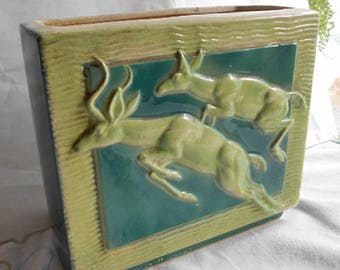 LEAPING GAZELLES PLANTER or Square Vase Ceramic 2 Tone Green Colors & Raised Design 1940s Geo Border, Royal Copley Atomic Era
