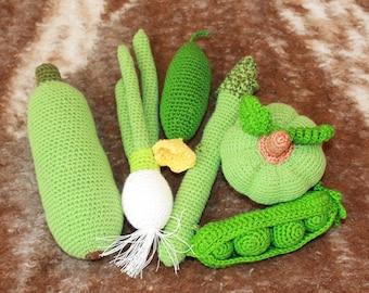 Set Crochet Vegetable 6PCs Play Food Decor Children Room Eco-friendly Toys Birthday Gift Sensory Toys Play Food Kitchen Decoration Amigurumi
