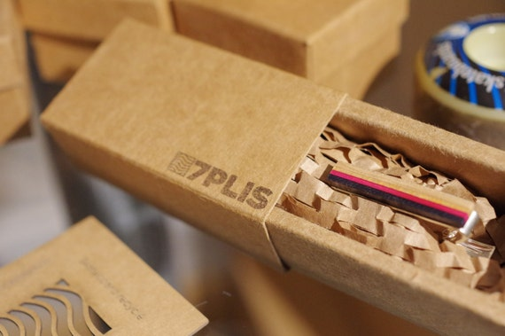 skateboard recycled wood tie clip pink black