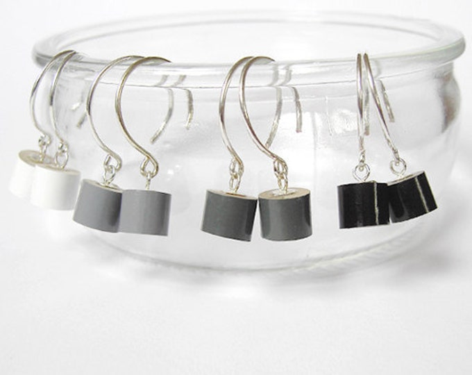 Color Pencil Earrings, The Black, Grey And White Series Pencil Jewelry, Made In UK