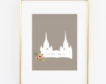 san diego california lds temple floral 8x10 art print instant download