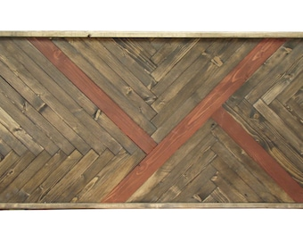 Rustic Wall Art Handmade Of 100% Reclaimed Wood With Accent Strip, Wall Art,  Wood Wall Art,  Wooden Wall Art