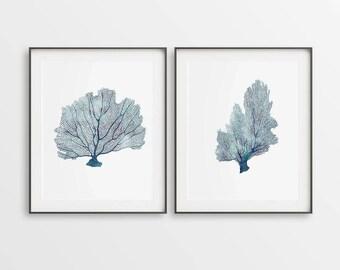 Coral Art Print, Set of 2 Prints, Blue Coral Printable, Digital Coral, Navy Blue, DIY Wall Art, Large Wall Print, Sea Room Wall Décor, Gift