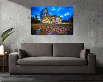 Printed Canvas Picture Art Rome Italy Waterway Colosseum Stretcher Frame Strips Included - Free Shipping - Home Decor Photography