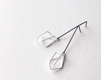 Geometric Drop Earrings, Geometric Silver Earrings, Geometric Dangle Earrings, Silver Drop Earrings, Statement Earrings, Minimalist Earrings