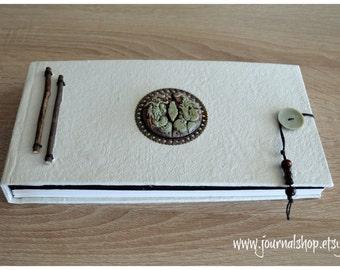 Hardcover artist sketchbook handmade blank book tibetan journal black and white book spiritual journal diary dragon and phoenix photo album