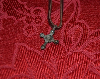 Small Viking Cross on 20 inch leather necklace, 10th Century.