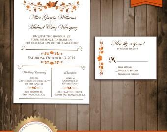 Autumn Wedding Invitation suite - Fall Leaves Wedding Invitation - Digital File, Printable