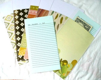 Planner Envelopes Cash System, Southwestern Desert and Cactus Designs, 3.25 x 7 Inches, Hand Stitched, Durable and Reusable