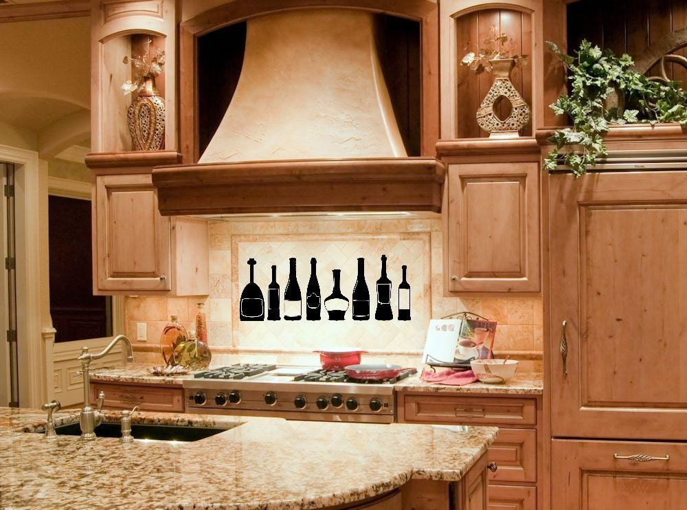 Kitchen Decor Wall Decal Wine Bottle Decorrhetsy: Wine Decor For Kitchen At Home Improvement Advice