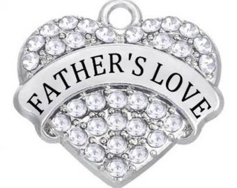 1 Rhinestone Heart Father's Love Charms Antique Silver Dad Daddy Pa Family Parent Word Bangle Necklace Bookmark Key Chain Pendants 1373