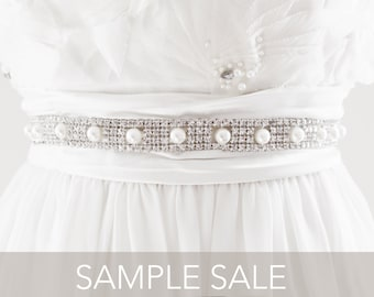 SAMPLE SALE - MIKEA Rhinestone Beaded Wedding Sash in Light Ivory, Free Shipping