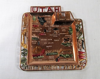Vintage Utah The Friendly State Colored Metal Ashtray Trinket Dish - Vintage Souvenir - Made in Japan