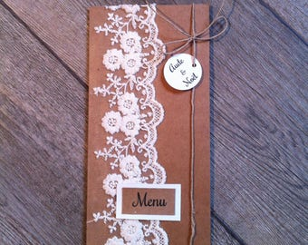 Wedding menu and kraft and lace wedding table decoration