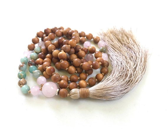 POSITIVE VIBRATION - Mala Beads - Sandalwood Mala Necklace - African Opal & Rose Quartz - 108 Bead Mala - Earthy Mala Bead - Natural Healing