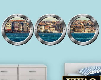 Underwater Dolphin 3d Porthole Wall Decal Peel And Stick Mural