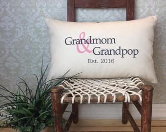 Custom Grandparent Pillow, Grandma and Grandpa, Gift for grandparents, Birth announcement pillow, established date pillow, Oma & Opa