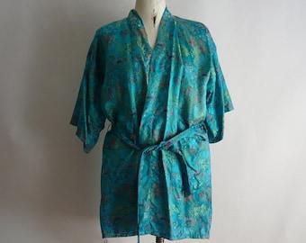 Vintage Turquoise Blue Kimono Robe Rayon Jacquard Embroidery  Scenic Lake Medium Knee Length 1980s