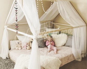 Frame bed house bed Montessori nursery wooden house Baby bed Toddler beds Bedroom interior Children furniture Kids teepee FULL/ DOUBLE