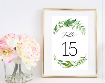 1-20 Printable table numbers, Greenery Leaves Table Number, Botanical Leaves Foliage, Garden Wedding Printable, 4x6 Instant Download - Riley