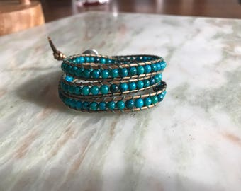 Aqua Blue Wrap Bracelet